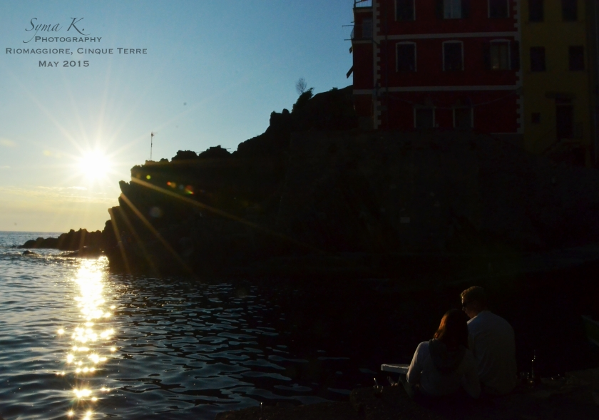 Sunset couple Riomaggiore